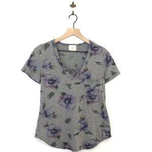 Anthropologie T.La Floral V-Neck Pocket Tee XXS